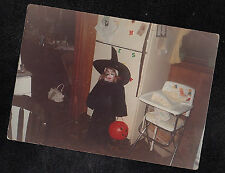 Vintage Photograph Little Girl in Creepy Witch Costume - Halloween