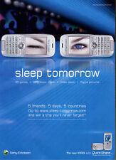 "Sony Ericsson K500i ""Sleep Tomorrow"" 2004 Magazine Advert #5324"
