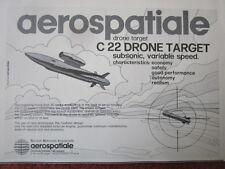 1/1982 PUB AEROSPATIALE ENGIN CIBLE C22 SUBSONIC TARGET DRONE ORIGINAL AD