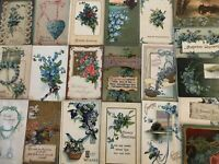 Lot of~25~FLOWERS~Blue~FORGET-ME-NOTS~vintage~greeting~Postcards-in Sleeves-h22