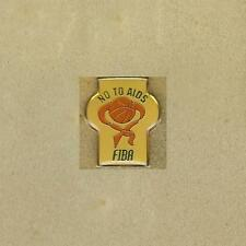 NO TO AIDS FIBA FEDERATION INTERNATIONAL BASKETBALL ASSOCIATION OFFICIAL OLD PIN