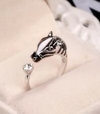 Zebra Horse Pony Wrap Ring With Rhinestone In Tail (Silver Colour) Woman's Men's