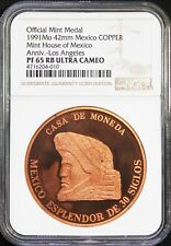 Mexico 1 oz. 1991 Copper Mexican Mint Medal, Los Angeles NGC PF65 RB Ultra Cameo