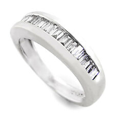 Baguette Diamond Channel Set Wedding Band 14K White Gold .50ctw