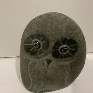 Vintage Stone Rock Owl Bird Sculpture Modern Style Art Hand Carved