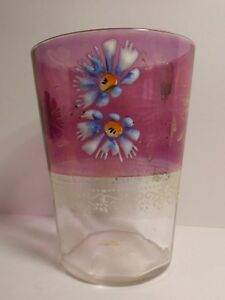 Antique SCARCE Beautiful Glass Cup With Lovely Raised Hand Painted Daisies 1800s