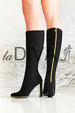 NILA & NILA ~ Italy Stretch Stiefel 37 schwarz mit Zipper in gold Leder Boots