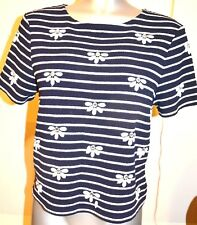 Miss Selfridge Top Tee Blue Blouse Striped Stretch Size 10 Beaded Gem Flower