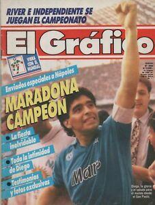 DIEGO MARADONA ON COVER EL GRAFICO MAGAZINE CHAMPION NAPOLI 1990