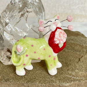 Vtg Amy Lacombe CERAMIC CAT BROOCH Whimsical Handmade WHIMSICLAY Kitten Kitty