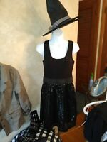 FUN EASY WITCH HALLOWEEN DRESS TANK W/SEQUIN SKIRT ATTD LARGE FREE SHIPPING