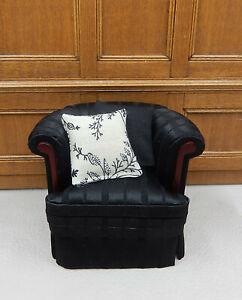 Vintage Bespaq Black Silk Sofa With Pillows Dollhouse Miniature 1:12