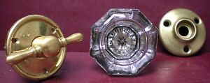 ANTIQUE SILVERED CENTERED GLASS & BRASS DOORKNOB & TURN W/ROSETTES #9-A1120