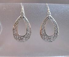 drop earrings filigree design Sterling silver medium dangle hanging