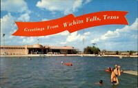Greetings from Wichita Falls Texas Westmoreland swimming pool ~ vintage postcard