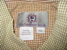 White Green Checks XXL 2XL 100% Cotton Territory Ahead Mens Long Sleeve Shirt
