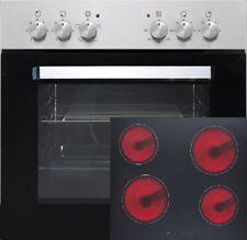 PKM Conjunto Integrado de Cocina Acero 60cm Encimera Vitrocerámica Horno 4 Placa
