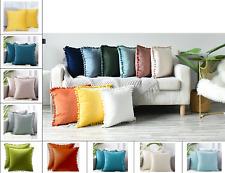 Velvet Square Throw Pillow Case, Cozy Soft Pom-poms, 45x45cm