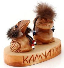 Carved Wood Raven Kutkh & Peliken Billiken Russian Kamchatka Folk Art Sculpture