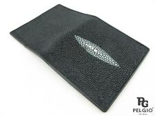 PELGIO Genuine Stingray Skin Leather Business Credit Card Holder Wallet Black