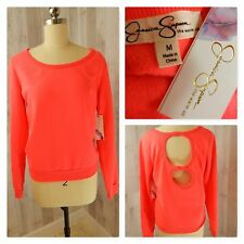 NWT~Fleece Top~JESSICA SIMPSON Neon Hot Pink  Key Hole Athleisure Size M
