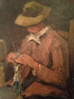 Beau tableau ancien Impressionniste Femme à l'Ouvrage Peinture Huile sur toile