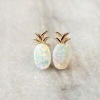 18k Yellow Gold Plated Pineapple Fire Opal Ear Studs Hoop Earrings Women Jewelry
