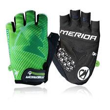Merida Tactical Fingerless Gloves Green/Red Cycling Gloves Padded Bike Gloves