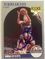 Todd Lichti 1990 Hoops Hand Signed Card Denver Nuggets