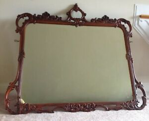 Antique Louis XV French Style Flame Mahogany Mirror Large Ornate 56 x 50