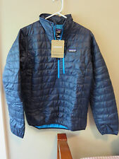 Mens New Patagonia Nano Puff Pullover Jacket Size Small Color Navy Blue