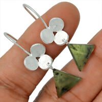 Canadian Nephrite Jade 925 Sterling Silver Earrings Jewelry AE79401 176C