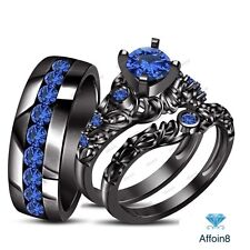 Trio Set Matching Engagement Ring Blue Sapphire Black Gold Over Wedding Band Set