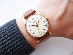 BEAUTIFUL RARE ELEGANT RUSSIAN POBEDA VINTAGE WRISTWATCH FROM 1950'S!