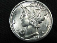 1935-D  Mercury Silver Dime - Gorgeous Lustrous Gem w/split bands #19489