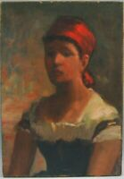 "oil painting handpainted on canvas ""Peasant Girl with a Red Kerchief """