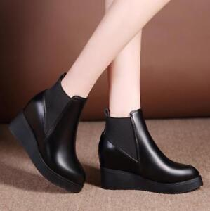 New Womens Mid Heel Pointed Toe Platform Ankle Chelsea Wedge Boots Shoes Good
