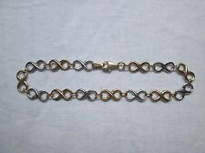 Brand New Two Colour White/Yellow 9ct Gold Fancy Link Bracelet. RRP £160