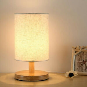 Bedside Lamp LED Room Night Light Warm White Bulb Dimmable Wood Table lamp YR
