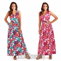 Ladies Floral Print Sleeveless Summer/Beach Maxi Dress Size 8 - 22 NEW