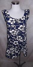 Hilo Hattie Hawaiian Dress XXS Navy Hibiscus Floral Ribbon Tie at Hem