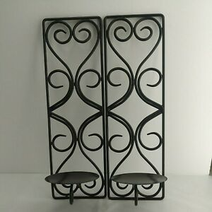 "2pc Dark Brown Wrought Iron Wall Candle Holders Sconce Heart 15""x4-3/4"" (3C2)"