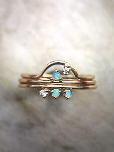wwake three points opal diamond 14k yg ring size 6 play of color catbird