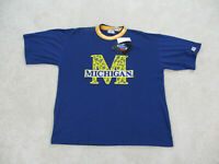 NEW VINTAGE Michigan Wolverines Shirt Adult 2XL XXL Blue Basketball Men 90s A1*