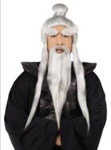 Asian Sensei Wig & Beard Set Long Gray Synthetic Hair Character Costume Set