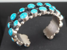 VINTAGE!  NATURAL TURQUOISE CLUSTER AND STERLING SILVER CUFF - DINE'