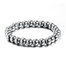 8mm Mens Womens Silver Stainless Steel 26 pcs Bead Bracelet Bangle Elastic