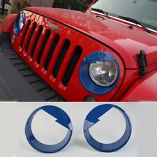 Blue ABS Pair Bird Front Headlight Cover Bezels for 2007-2016 Jeep Wrangler