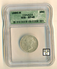 Canada 1890-H  25cents Coin  ICG graded EF45