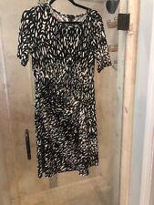 Talbots 14P Dress Black White Tan Moc Wrap Tie Geometric Jersey Stretch Large
